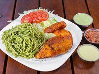 1/4 TGC brasa - 1/4 de pollo + 2 guarniciones personales a elección + 2 salsas personales