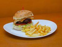 Burger clásica  con papas fritas