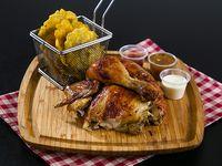 1/2 pollo + acompañamiento + bebida