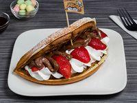 Waffle con frutilla con nutella