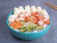 Chirashi salmón y langostinos