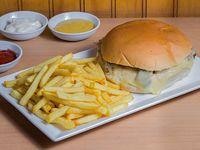 Sándwich barros luco  + papas fritas
