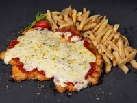 Pizzanesa muzzarella con papas fritas para dos personas
