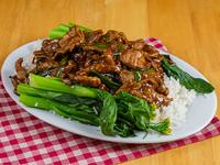 Carne min chi con arroz blanco