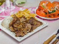 Bisteck a la plancha + agregado + ensalada
