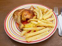 Promo colación - 1/4 pollo (tutro) + papas fritas chichas