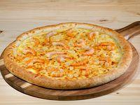 Pizza familiar de camarón al ajillo
