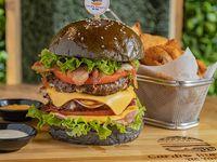 Burger Cardio infarto + papas fritas + soda 355 ml