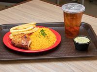 Económico - Presa de pollo + arroz