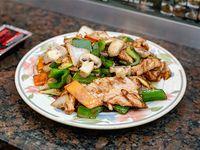 Cerdo al wok con champiñón