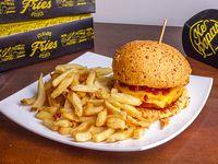 Hamburguesa pollo Crispy Cheddar, Panceta