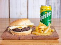 Hamburguesa solo queso + papas fritas+ bebida