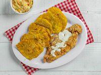Combo 5 - Filete de pescado apanado + salsa tártara +1acompañante + soda de lata+ ensalada rallada chica