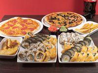 Combo 17 - 60 piezas de sushi a elección + 2 pizzas 32 cm a elección + 2 raciones de papas fritas + bebida 1.5 L