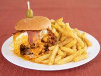 Hamburguesa big cheddar con papas fritas