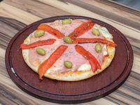 Pizza con jamón y morrones mediana (6 porciones)