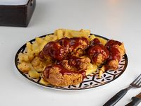 Chicken wings - 6 unidades + papas fritas corte ancho + refresco opcional