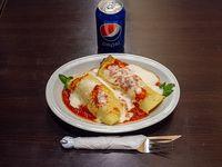 Promo - Canelones con salsa mixta (porción) + bebida en lata Pepsi 354 ml