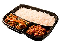 Wok Box 3 Pollo con Vegetales y Champiñones Gratis Mr. Tea Botella