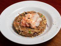 Wok de arroz con mariscos