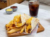 Taco combo - 2 Tacos rellenos + Papas fritas + Gaseosa