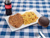 Promo 4 - Milanesa al plato con arroz de la casa +pan + Coca-Cola 250 ml + yo-yo