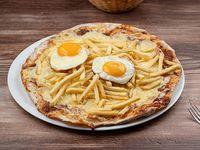 Pizzeta con muzza, fritas y Huevo