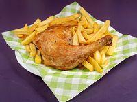 1/4 de tutro de pollo con papas fritas (250 g)