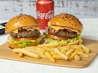 Super promo 2 x 1 - 2 hamburguesas + 1 papas fritas +1 soda