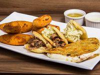 Plato de degustación de comida venezolana
