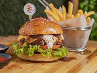 Burger Cardio clásica + papas fritas + soda 355 ml