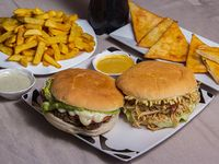 Promo Mix italiano 2 - Hamburguesa italiano + sándwich de pollo italiano + papas fritas grande +  5 empanadas + bebida de 1.5 L