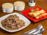 Colación - 2 Chaufan + 1 Carne Mongoliana  + 5 Arrolladitos primavera