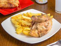 Menú E1 - Pollo asado + Acompañamiento  + Arrollados primavera (2 unidades) + Bebida