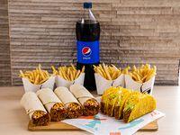Combo Pa Parkiar - 4 Crunchy tacos de carne + 4 1/2 LB Burritos combinados + 4 Papas fritas + 4 Sodas 16 oz