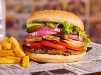 Hamburguesa Iron burger acompañado de papas fritas