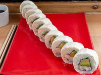 Roll de camarón, palta y ciboulette, envuelto en queso (10 piezas)