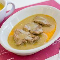 Almuerzo caliente completo - Lomo a la mostaza + ensalada + bebida y postre