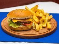 Burger cheddar con papas