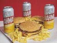 Promo - 3 hamburguesas dobles + papas fritas + 3 cervezas Brahma 473 ml