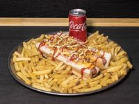 Promo - 2 hot dogs a elección + papas fritas + Coca Cola 220 ml