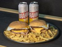 Promo -  2 hamburguesas dobles + papas fritas + 2 latas Brahma 473 ml