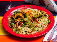 Menú del día - Sarteneada de carne con arroz + Postre
