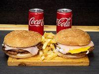 Promoción 5 - 2 Hamburguesas dobles + Papas fritas + Gaseosa Coca Cola 220 ml