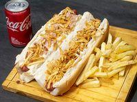 Promoción 1 - 2 Hot dogs a elección + Papas fritas + Gaseosa Coca Cola 220 ml
