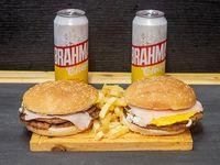 Promoción 18 - 2 Hamburguesas dobles + Papas fritas + 2 Cervezas Brahama en lata 473 ml