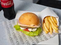 Promo - Hamburguesa + cajita de papas fritas + Coca Cola 600 ml