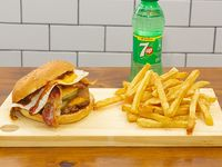 Promo - Hamburguesa casera BBQ + papas fritas + gaseosa 250 ml