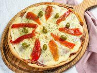 Pizza jamón y morrones