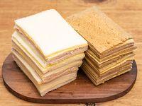 Sándwich de miga triples grandes de jamon y queso 12 unidades